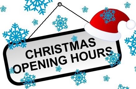 Christmas Opening Hours.Christmas Opening Hours